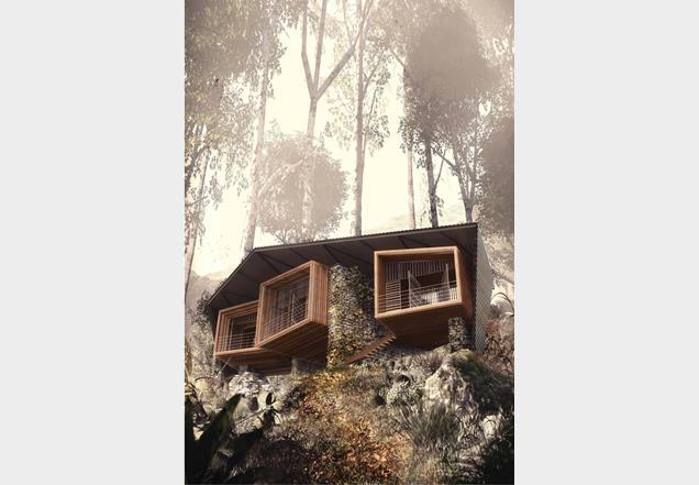 Foster Lomas' Bukit Lawang Lodge draws inspiration from orang-utans nests.  Image by Foster Lomas and 7-t.co.uk